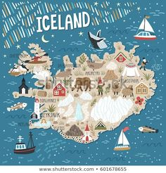 Vector stylized map of Iceland. Travel illustration with Iceland landmarks people animals and nature places Travel Log, Travel Maps, Places To Travel, Iceland Travel, Map Of Iceland, Greenland Travel, Travel Illustration, Portrait Illustration, City Maps