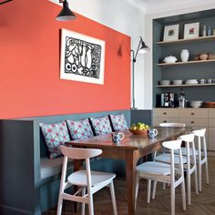Contemporary and mid-century dining area in earthy red and dusty blue. These mid-century colours are so refreshing. Dining Room Colors, Kitchen Colors, Colorful Apartment, Apartment Makeover, Mid Century Dining, Dining Area, Dining Table, House Colors, Colorful Interiors