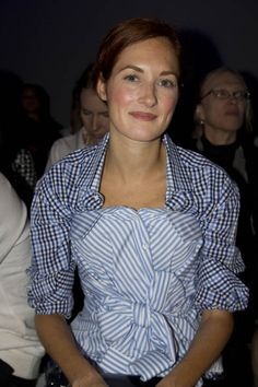Taylor Tomasi Hill | Bustier (or button up shirt tied into bustier) + pattern button up