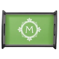 Snowflake Wreath Monogram in Lime Green & White Serving Platters