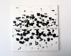 "No. 67 - Modern Abstract Painting Set - 24"" x 24"" on two regular 3/4"" depth canvas - (Black and white) Adriane Duckworth Original Paintings"