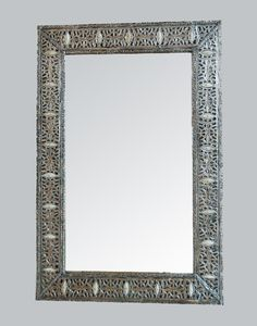 White Bone Encrusted Moroccan Mirror