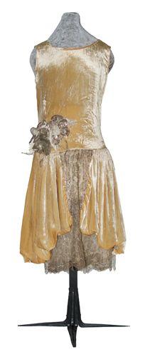 Dress, evening (woman's) c. 1925 - 1928 Plain weave; Pile; Lace, machine Silk velvet; Silk organza; Metallic thread; Cotton TC 2008.2-3