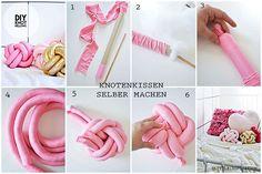 Habt ihr schon mal #Knotenkissen gesehen? Hier findet ihr Anleitungen, mit denen ihr die dekorativen Kissen ganz einfach #selbermachen könnt! #Doityourself #Knotpillow