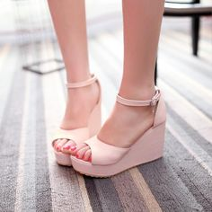 Simple Peep Toe Wedge Sandals With Slender Ankle Straps Adorned With Metallic Star Charm on Luulla Peep Toe Wedges, Wedge Heels, High Heels, Women's Wedges, Heeled Boots, Shoe Boots, Shoes Heels, Pumps, Cute Shoes