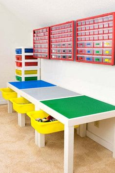 This DIY Lego table is the perfect place to create and play! Pieces are sorted into individual drawers, and full sets are disassembled and kept in the storage tower.