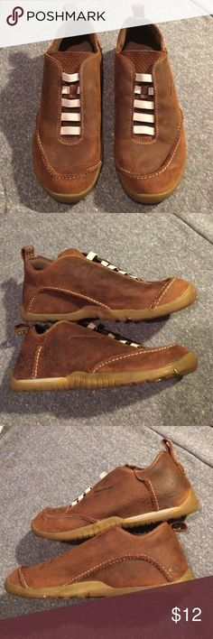 Montrail Hiking Leather Shoes Sz. 9 These are very comfortable slip on shoes for hiking a trail or just walking. They are leather and they slip on. Ladies Size 9. They are in great condition. Please comment with any questions and thanks for looking through my closet.🍁 Montrail Shoes Sneakers