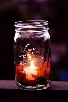 Mason Jar--for Farrah.I LOVE mason jars and will totally use them for candle now as I abhor almost all other candle holders. Mason Jar Candle Holders, Mason Jar Centerpieces, Mason Jar Candles, Fall Candles, Wedding Centerpieces, Votive Holder, Candels, Wedding Decorations, Led Candles