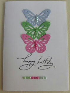 Cards - My own / Sofie Hansen beautiful butterfly card Handmade Birthday Cards, Happy Birthday Cards, Greeting Cards Handmade, Tarjetas Diy, Bday Cards, Butterfly Cards, Butterfly Birthday Cards, Pretty Cards, Card Tags