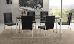 Conjunto de Mesa 328 com 6 Cadeiras 215 Preto Duna/Chumbo