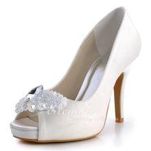 Venta al por mayor y al por menor EP2055-IP marfil zapatos para novia Peep Toe grandes plataformas de diamantes de Ultra tacón raso de la boda tacones de aguja(China (Mainland))