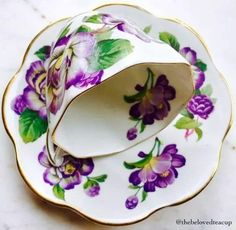 Rosina Purple Floral Tea Cup and Saucer Vintage Cups, Vintage Tea, Tea Cup Saucer, Tea Cups, Tea Pot Set, Teapots And Cups, Tea Service, All Things Purple, Tea Time