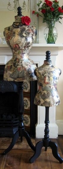 Antique Vintage French Stockman Child Mannequin - Decoupaged in Original Newspapers