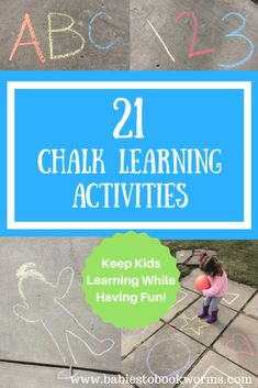 Babies to Bookworms provides a roundup of 21 awesome chalk activities to keep kids learning all summer long! Outdoor Activities For Kids, Kids Learning Activities, Educational Activities, Fun Learning, Preschool Activities, Early Learning, Family Activities, Kinesthetic Learning, Preschool Writing