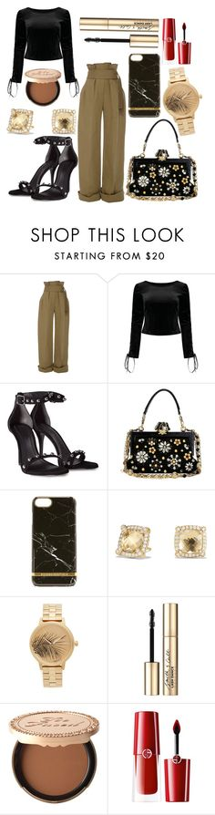 """Sin título #4153"" by onedirection-h1n1l2z1 on Polyvore featuring Rosie Assoulin, Alexander Wang, Dolce&Gabbana, Richmond & Finch, David Yurman, Nixon, Smith & Cult, Too Faced Cosmetics y Giorgio Armani"
