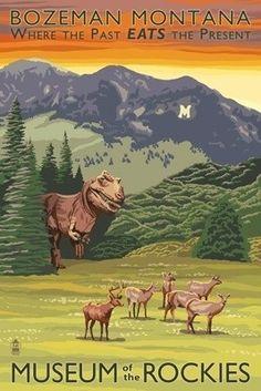 Trex Hunting Deer - Museum of the Rockies - Lantern Press Original Poster