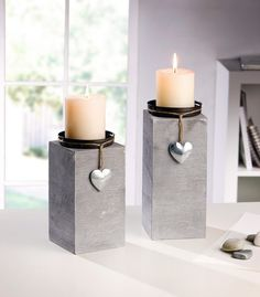 "Candle holder ""Little Heart"" in a set of 2 … - Trend Garden Decoration Cement Art, Concrete Crafts, Concrete Projects, Concrete Furniture, Concrete Pots, Concrete Design, Diy Luminaire, Concrete Candle Holders, Candle Stand"