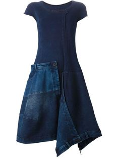 Shop Rundholz denim dress with patchwork design from the world's best boutiques … - DIY Clothes Sweater Ideen Denim Patchwork, Patchwork Dress, Look Con Short, Cool Outfits, Casual Outfits, Mode Jeans, Mode Plus, Denim Ideas, Mode Chic