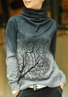 Grey Tree Print High Neck Sweet Pullover Sweater