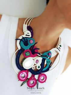 Items similar to SOLD soutache asymetric necklace modern necklace favorite best selling gift for her multicolor bib necklace fiber art jewelry on Etsy Fiber Art Jewelry, Rope Jewelry, Jewelry Art, Soutache Necklace, Polymer Clay Charms, Handmade Necklaces, Diy Fashion, Gifts For Her, Modern Contemporary