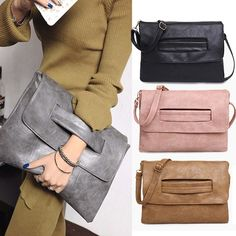 Fashion Envelope Clutch Crossbody Bag PartyEvening Vintage Women Leather Handbag #Unbranded #EveningBag