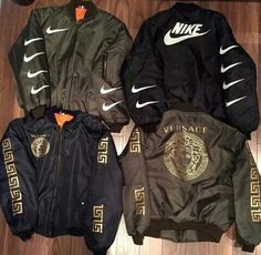 Nike and Versace Jackets Tomboy Fashion, Fashion Killa, Mens Fashion, Trill Fashion, Dope Outfits, Casual Outfits, Fashion Outfits, Fashion Coat, Mode Style