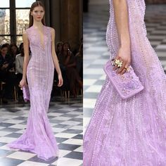 Sheer lavender bliss from #GEORGESHOBEIKA's SS 2016 Couture collection. #parisfashionweek #hautecouture #pfw #SS16 #couture #monnaiedeparis #paris