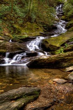 Roaring Fork Falls - Pisgah National Forest, Yancey County, in the Blue Ridge Mountains of North Carolina