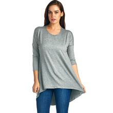 New Arrival Women's 3/4 sleeve High-low Hem Tunic Top round neck Best Buy follow this link http://shopingayo.space