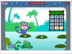 """""""Cross the swamp"""" (Cruza el pantano) es un magnífico juego, de bbc.co.uk, en el que se practica el cálculo mental con varios niveles de dificultad, por lo que se puede jugar en toda la Educación Primaria, desde 1º a 6º, con suma y resta hasta multiplicación y división. Para ayudar al mono a atravesar el pantano, saltando de islita a islita, hemos de completar la operación que nos hace pasar del número en que se halla el mono al número indicado en la islita a la que ha de saltar."""