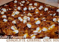 Guilty Pleasure Chocolate Caramel Chex Mix....so amazing and SO easy! Perfect to bring for a holiday dessert or for a pot luck -- no bake!