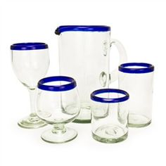 Blue Rim Recycled Glassware Collection
