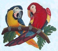 Parrot Hand Painted Metal Wall Decor - Tropical Haitian Steel Drum Art - Handcrafted Tropical Metal Art by TropicAccents