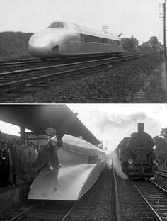 Rail zeppelin designer Franz Kruckenberg , who worked on propeller propulsion . ( Germany , 1929)