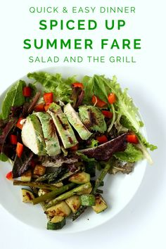 FashionablyEmployed.com | Want a quick and easy idea for summer fare from the farmer's market to your grill? Try a salad with marinated chicken. Opt for a spicy marinade instead of salad dressing for an even lighter option.