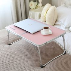Amazon.com : Superjare Folding Laptop Desk Portable Table Breakfast Bed Tray Pink 70901P : Office Products #USUMoveIn