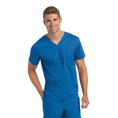 Kinda liking the fitted V-neck look, it's a little different looking and there're lots of colors to choose from guys. Landau Men's V-Neck Solid Scrub Top