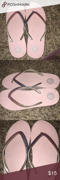 Pink glitter wedge So flip flop sandals. 8 Pink glitter wedge So Authentic America Heritage flip flop sandals. 8. Super cute. In excellent condition used only once in house. Love to bundle. All offers welcome. Authentic American Heritage Shoes Sandals