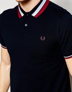 Shop Fred Perry Polo Shirt with Bold Tipping Slim Fit at ASOS. Polo Shirt Style, Polo Shirt Design, Polo Shirt Outfits, Polo Design, Mens Polo T Shirts, Polo Tees, Boys T Shirts, Fred Perry Shirt, Fred Perry Polo Shirts