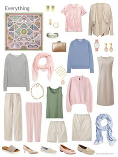 an 11-piece capsule wardrobe in beige, pink and pastels