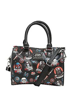 Love for the Dark Side is permanent, just like a tattoo. This adorable bag features an allover tattoo flash inspired Dark Side print. Black pebbled faux leather barrel bag, accented with black faux leather rolled handles and an optional adjustable crossbody strap. Inside the zipper closure you'll find a pouch pocket and a zipper pocket.