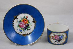 SEVRES MARKED C1755 C MANY PLUS ML AND FLEUR DE LYS CUP & SAUCER FOR RESTORATION