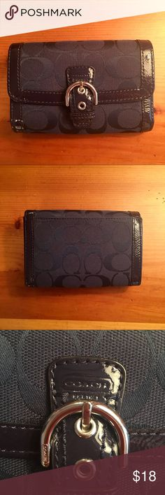 "Coach Wallet Navy Coach wallet. Excellent used condition. Magnetic latch, exterior back pocket. Interior: billfold, 9 credit card slots (one with viewing window), 2 larger slots, one zippered change pouch. 5.5"" W x 4"" H. 10"" long when opened up. 💙 Goes great with navy Coach bag in my closet.... bundle them for a discount! 💙 Coach Bags Wallets"