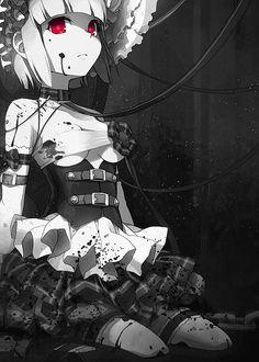 ✮ ANIME ART ✮ gothic. . .gore. . .guro. . .blood splatters. . .dark. . .bonnet. . .corset. . .ruffles. . .bandages. . .collar. . .red eyes. . .pretty. . .kawaii
