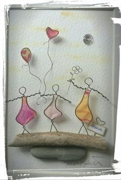 Wire Art: Copper Wire and paper on driftwood