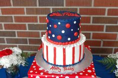 Ole Miss cake- love the color of the blue frosting with the bright red!