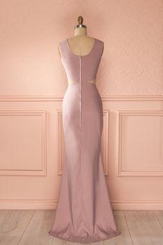 Robe longue soirée rose clair découpes taille ajustée - Evening maxi fitted waist cut-outs solid light pink dress