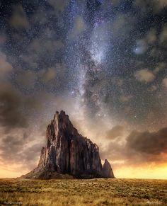 Shadowplay I blur the technicolor  Shiprock New Mexico [16001300][OC] #reddit