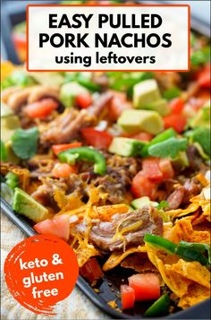 Try these keto nachos with leftover pulled pork for a quick dinner or low carb appetizer for guests. Using keto tortilla chips you can load your nachos with a large selection of low carb toppings. Just make some pulled pork roast for dinner and then have pulled pork nachos the next day! One serving of these low carb high protein nachos has 4g net carbs and 34g protein! Pulled Pork Roast, Easy Pulled Pork, Pulled Pork Nachos, Pork Recipes, Lunch Recipes, Low Carb Recipes, Healthy Recipes, Ketogenic Recipes, Delicious Recipes
