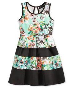 Crystal Doll Girls' Floral-Print Colorblocked Scuba Dress